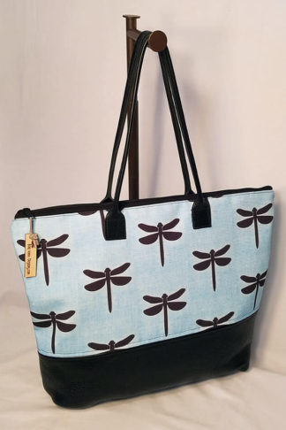 Pemaquid tote bag with exclusive dragonfly fabric by Tori Anna Designs.