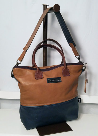 Trifecta Leather Handbag with black, dark brown and tan leathers by Tori Anna Designs.