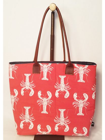 Maine tote bag featuring the lobster pattern on the red background by Tori Anna Designs.