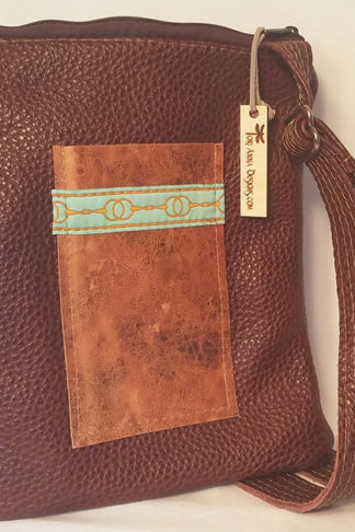 Heidi All Leather Crossbody bag with two tone brown leather by Tori Anna Designs.