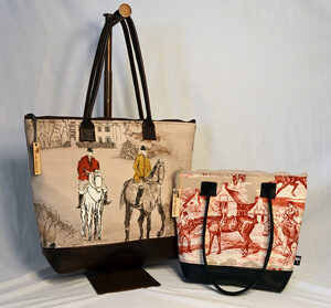 Image of the equestrian tote and Tori handbag.