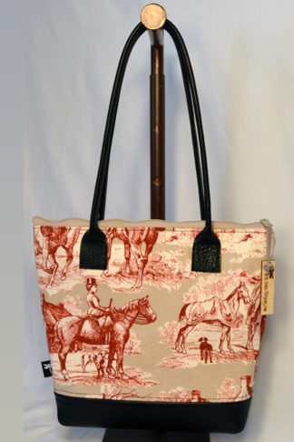 Equestrian hand bag with red toile fabric by Tori Anna Designs.