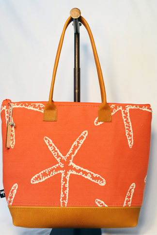 Pemaquid tote in orange starfish fabric.