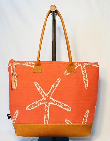 Pemaquid tote in orange starfish fabric.