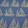 Fabric is a blue background with a white sailboat pattern.