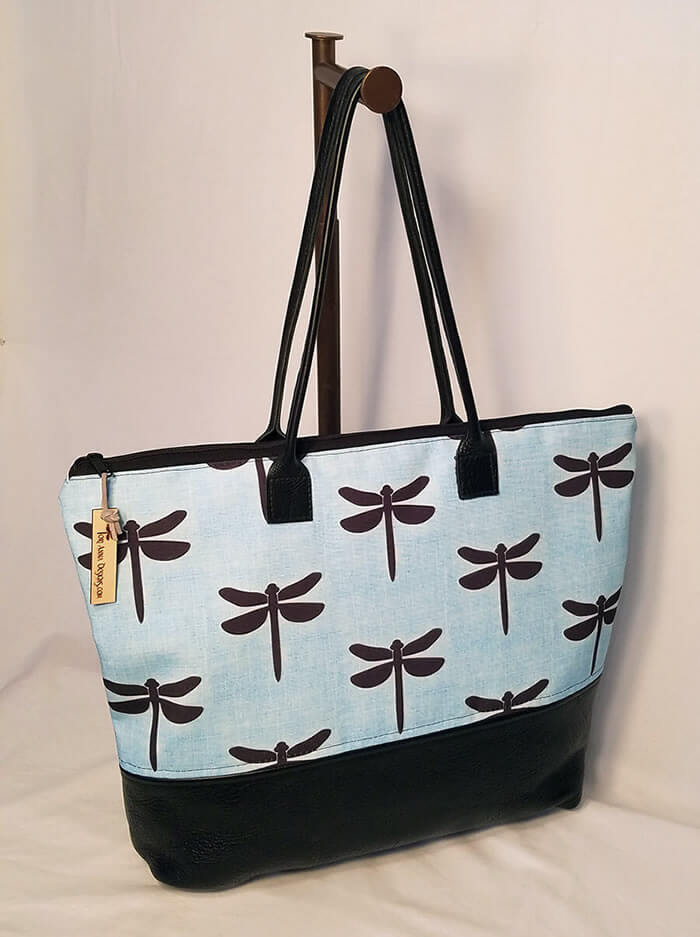 Pemaquid Tote Bag With Exclusive Dragonfly Fabric By Tori Anna Designs