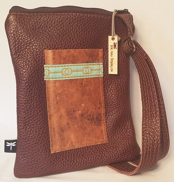 Heidi All Leather Crossbody Bag With Two Tone Brown By Tori Anna Designs