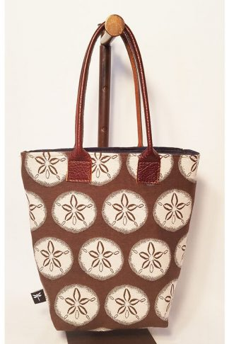 Ruby tote with chocolate sand dollar fabric by Tori Anna Designs.