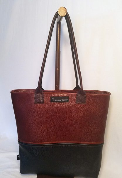 Black and Tan Leather Tote bag by Tori Anna Designs.