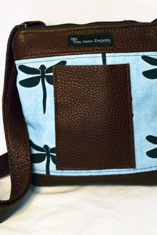 Crossbody bag with exclusive dragonfly fabric by Tori Anna Designs.
